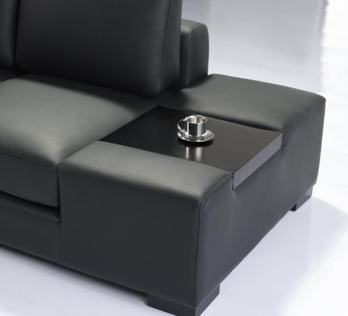 Mini T35 Sectional Sofa Black Leather Leather Sectionals