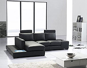 Mini T35 Sectional Sofa Black Leather