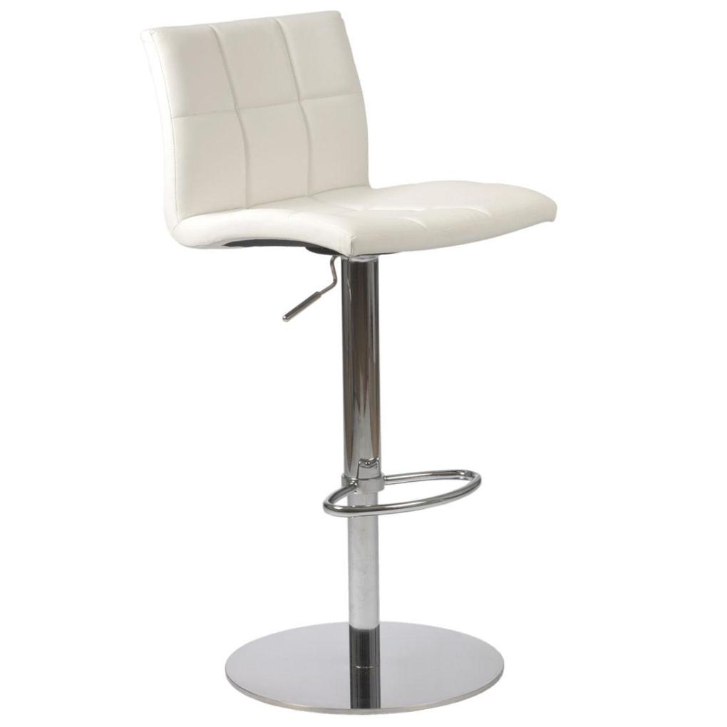 Cyd Adjustable Bar Counter Stool White Chrome Bar Stools