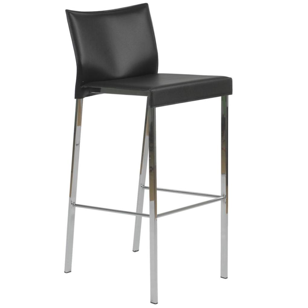 Riley Leather Barstool-Black-Chrome  sc 1 st  Avetex Furniture & Riley Leather Barstool-Black-Chrome | Bar Stools islam-shia.org