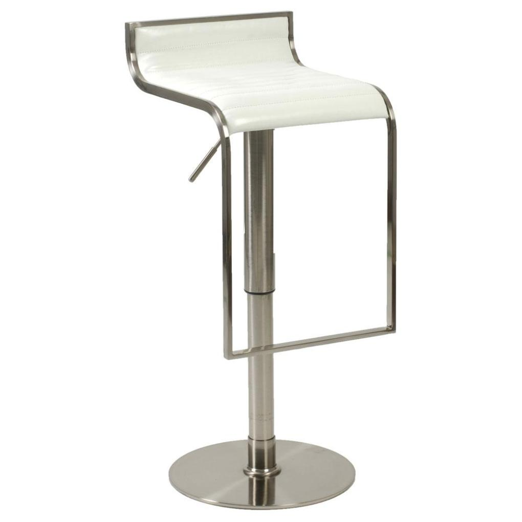 Forest Adjustable Bar Counter Stool White Satin Nickel
