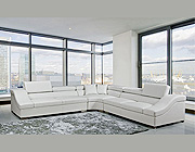 White Bonded Leather Sectional VG02