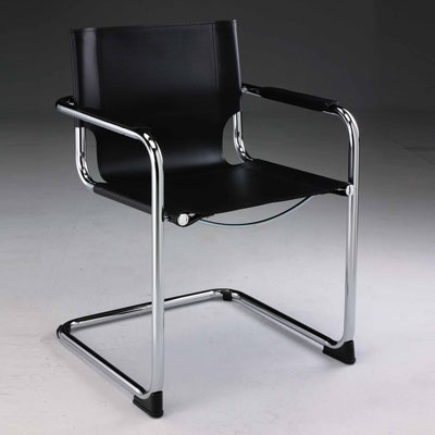Black leatherette visitor chair CR1120