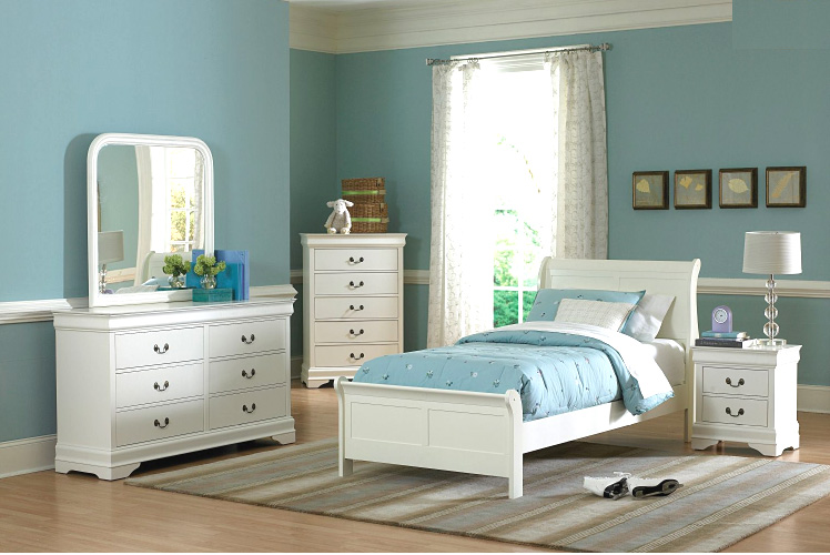 White Twin Bedroom set HE539 Kids Bedroom