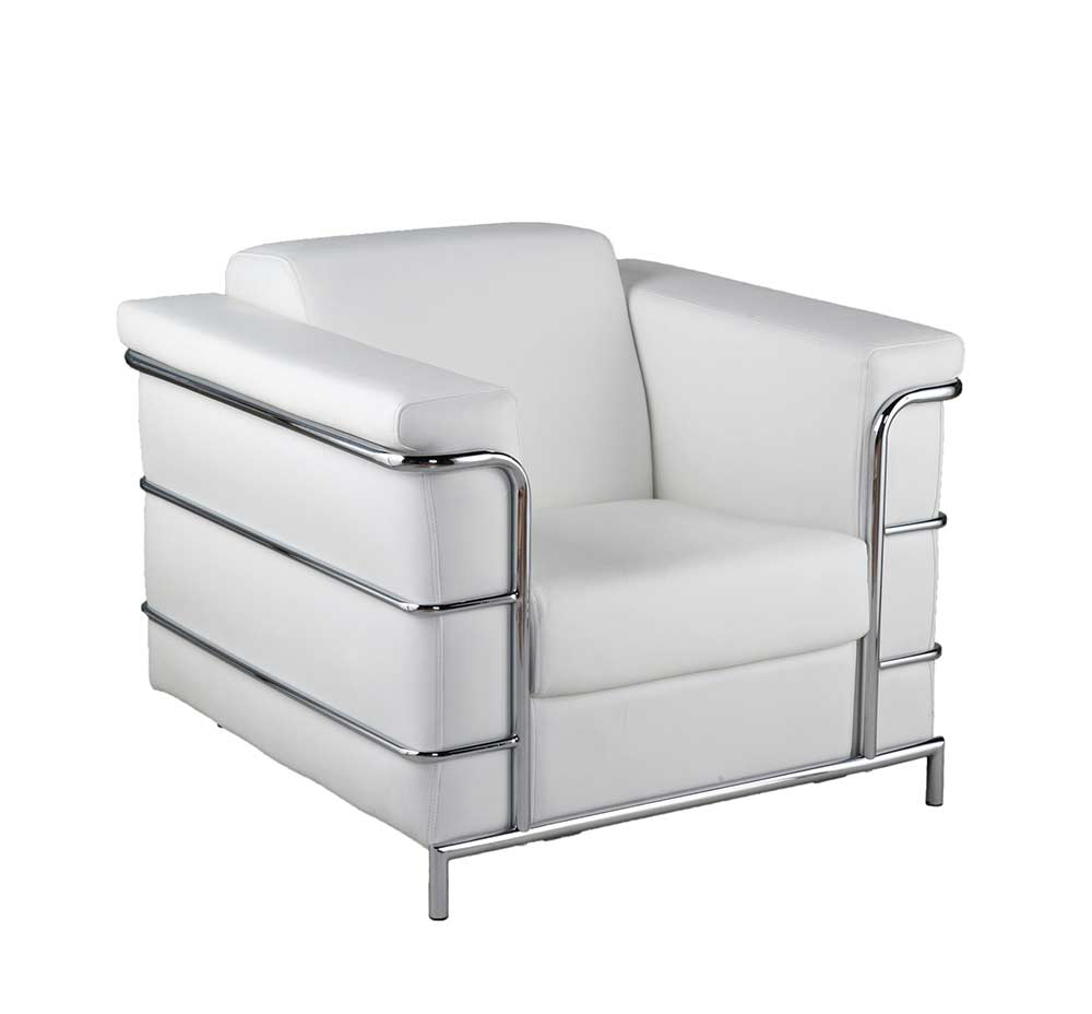 Excellent Modern Leather Arm Chair Estyle 811 In White Accent Seating Machost Co Dining Chair Design Ideas Machostcouk