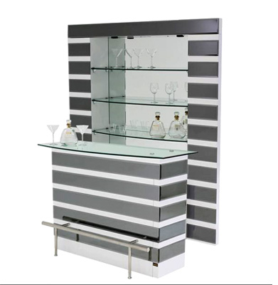 Mirrored Bar Stand and Shelves