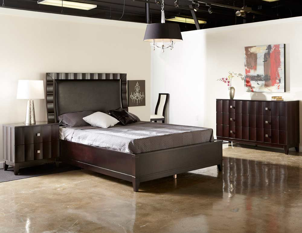 Modern bed collection nj 12 in brown leatherette modern for Modern furniture nj