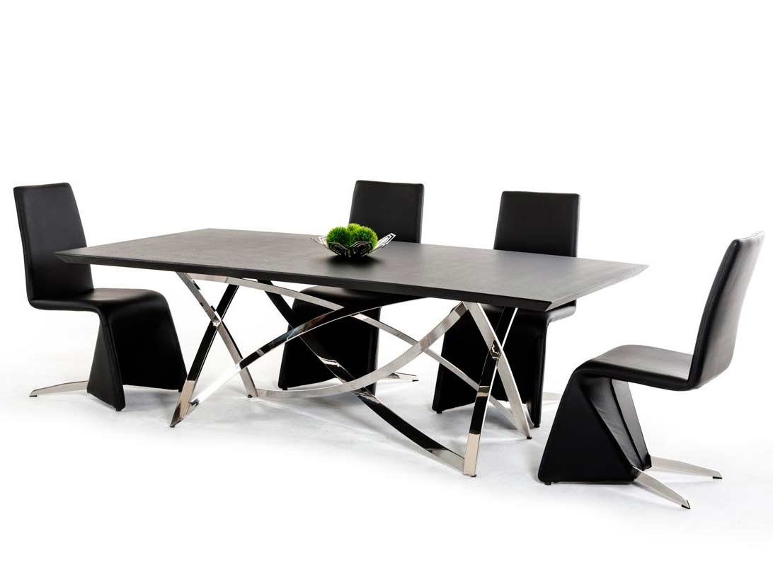 Dining Table Modern Oak Glass Chairs
