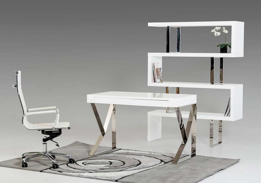 Modern White High Gloss Bookcase VG105