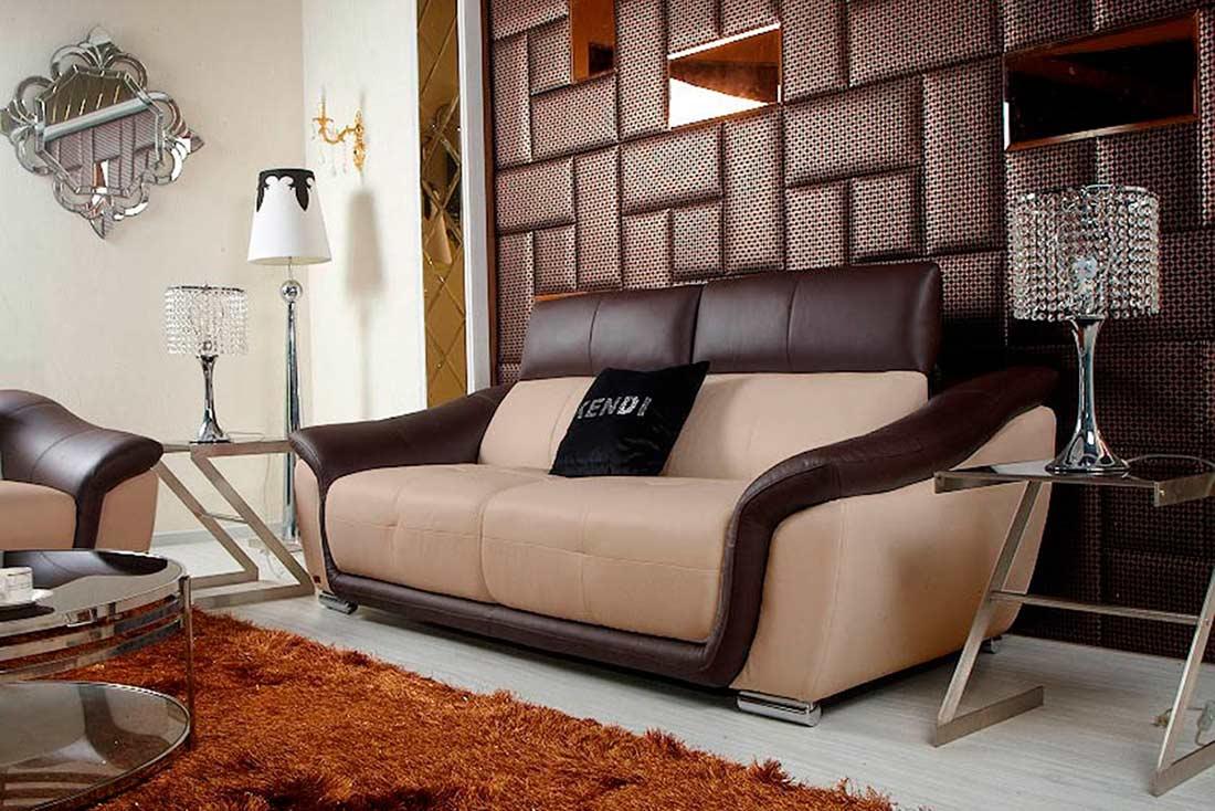 Modern Beige Leather Sofa Set VG376