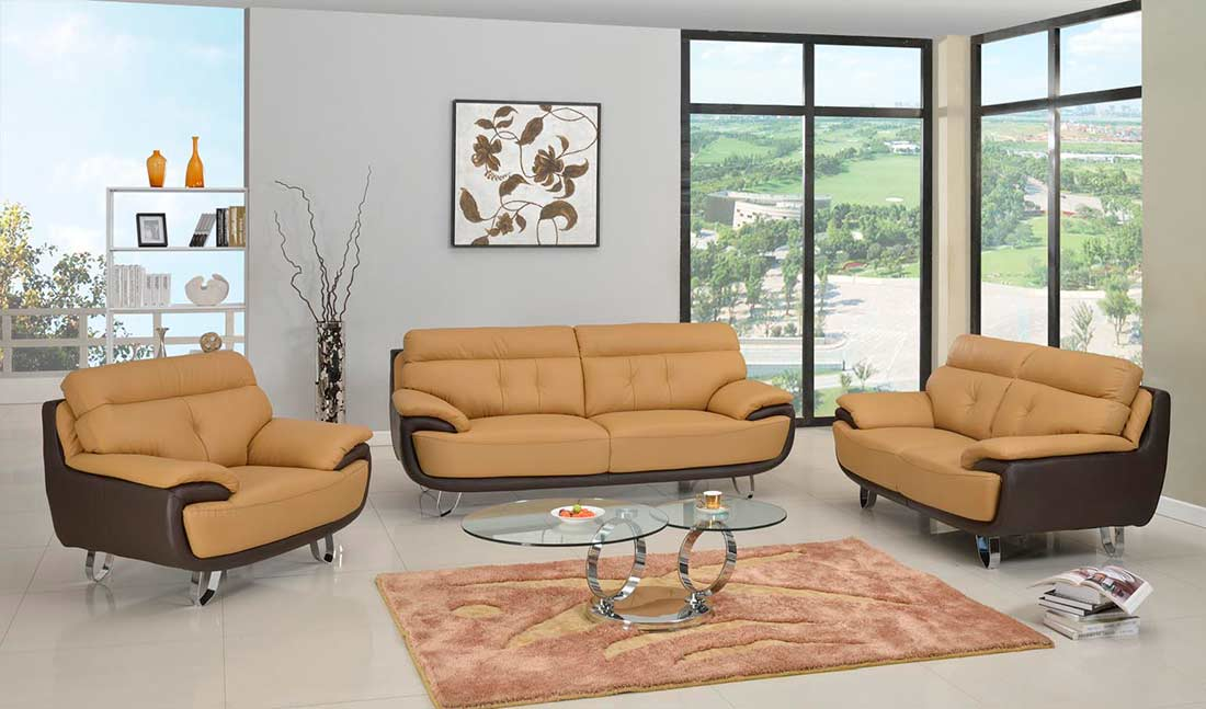 Modern Two Tone Leather Sofa Collection Gl159