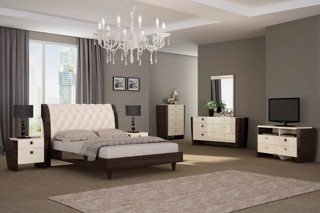 Modern Eco leather Tufted Bed GU 89 Contemporary Bedroom