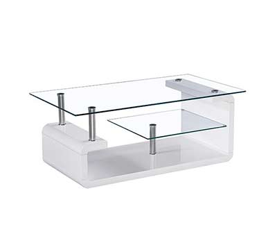 Glass Top White Lacquer Coffee table BM 12