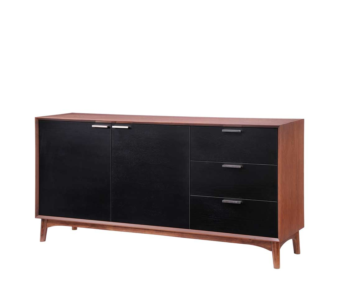 Walnut and black modern buffet z055 modern buffets stations for Buffets sideboards