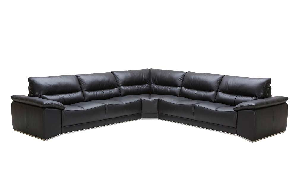 Romano Black Leather Sectional Sofa | Leather Sectionals