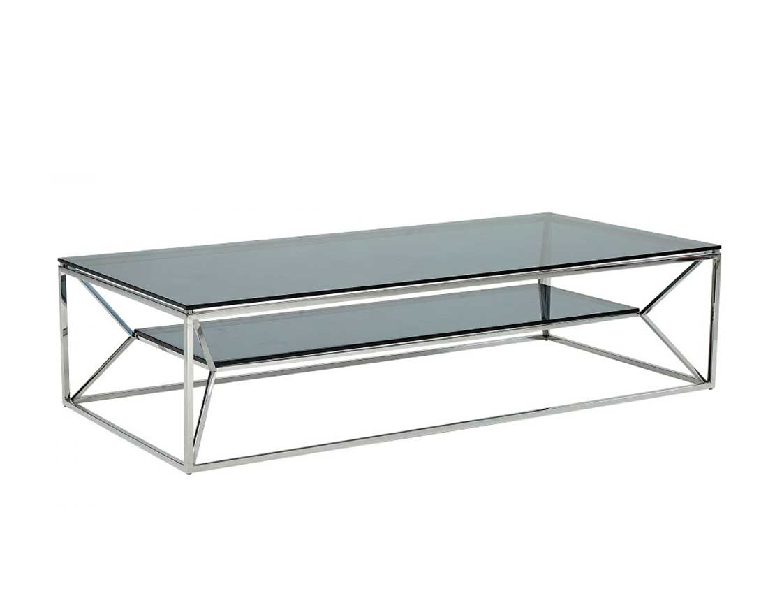 Smoked glass top coffee table vg 816 contemporary for Contemporary glass top coffee table