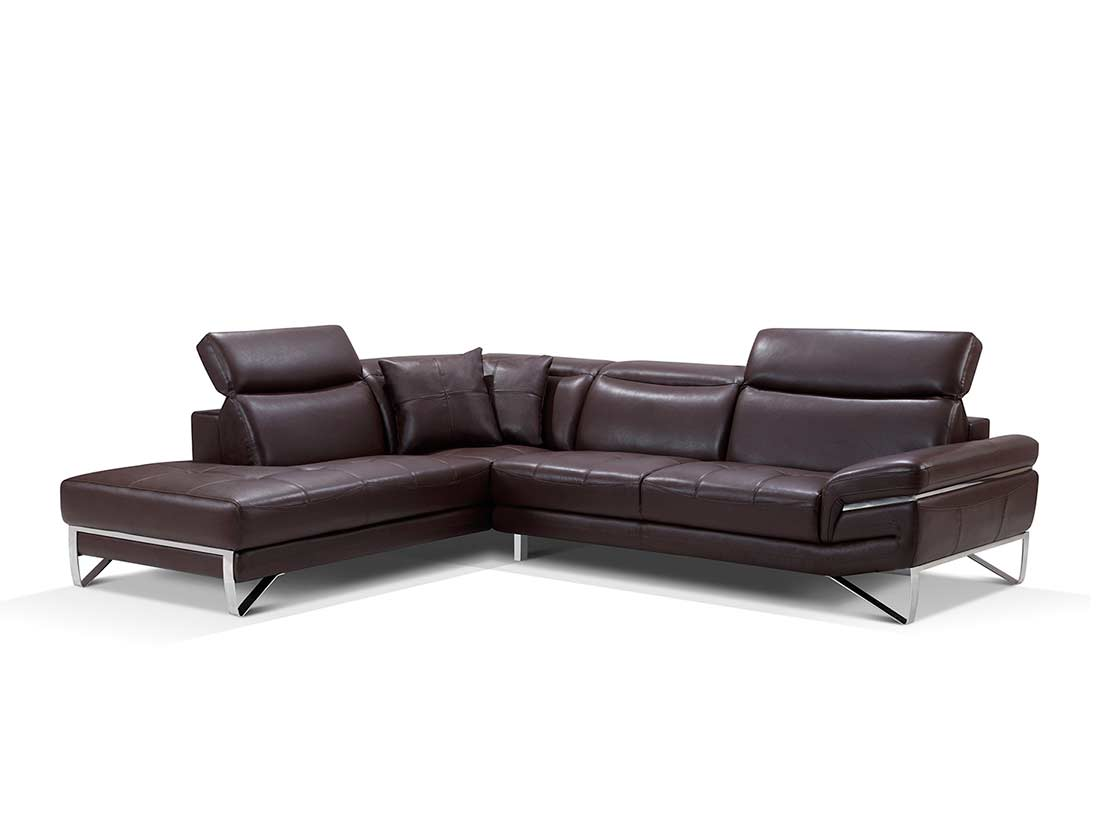 Modern brown leather sectional sofa ef194 leather sectionals for Contemporary sectional sofas