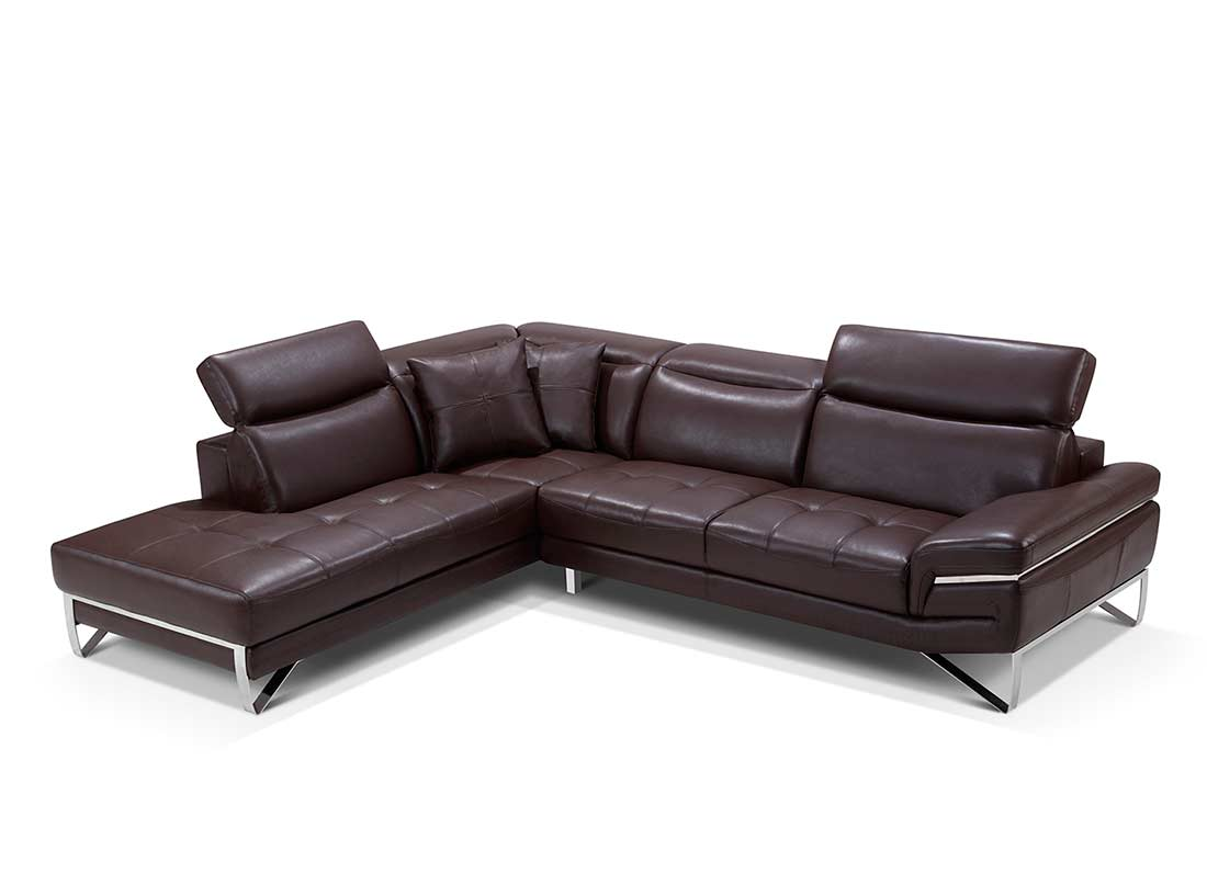 Modern brown leather sectional sofa ef194 leather sectionals for Leather sectional sofa