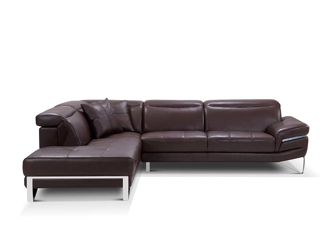 Modern brown leather sectional sofa ef194 leather sectionals for Modern leather furniture
