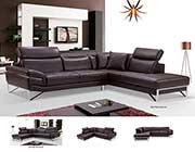 Modern Brown Leather Sectional Sofa EF194