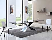 Extendable Black Glass Dining Table VG428