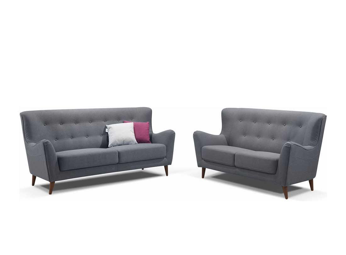 Retro Grey Button Tufted Sofa Ds 076 Fabric Sofas