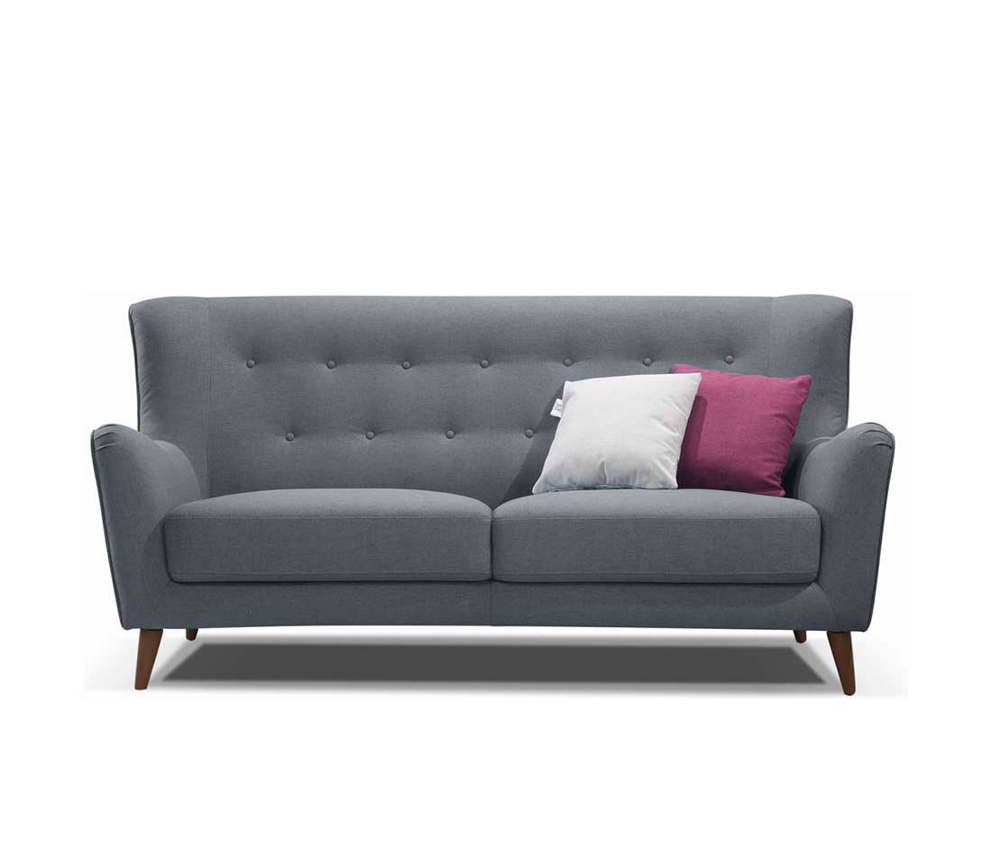 Retro Grey Button Tufted Sofa Ds 076 Fabric Sofas