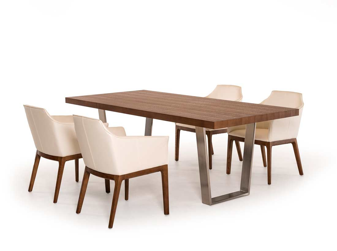 Walnut dining table vg404 modern dining for Wood modern dining table