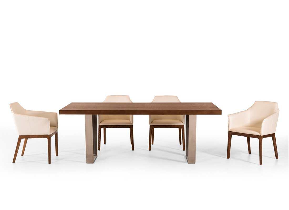 Walnut dining table vg404 modern dining for Modern solid wood dining table