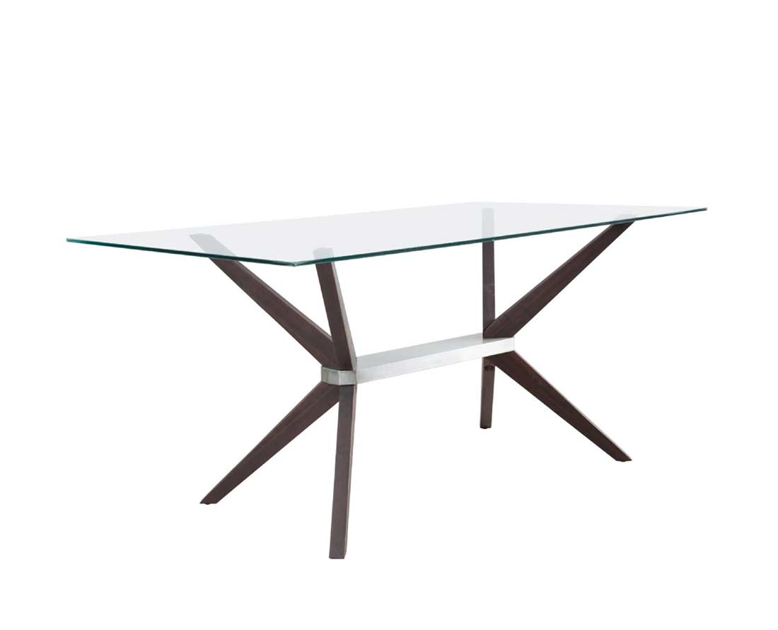 American Drew Dining Room Glass Dining Table With Walnut Legs Z199 Modern Dining