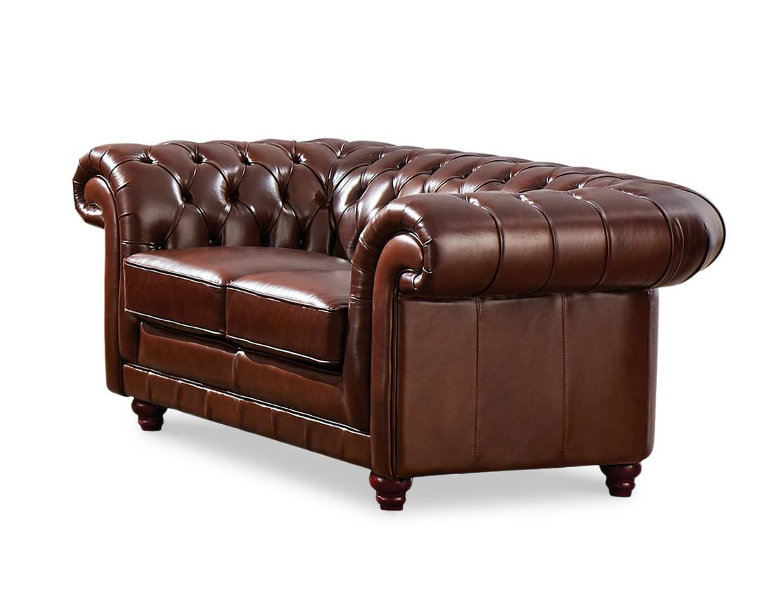Full leather sofa ef 882 leather sofas for Traditional leather furniture