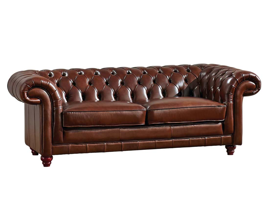 Full leather sofa ef 882 leather sofas for Traditional style leather sofas