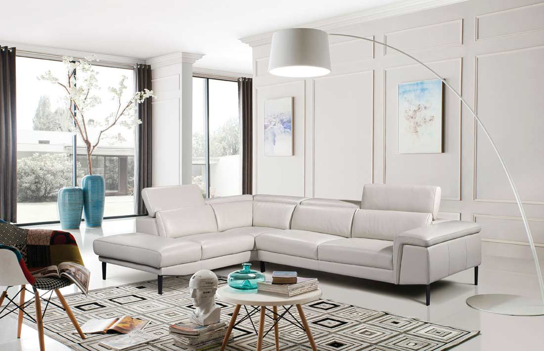 Light Grey Leather Sectional Sofa Ef 511 Leather Sectionals