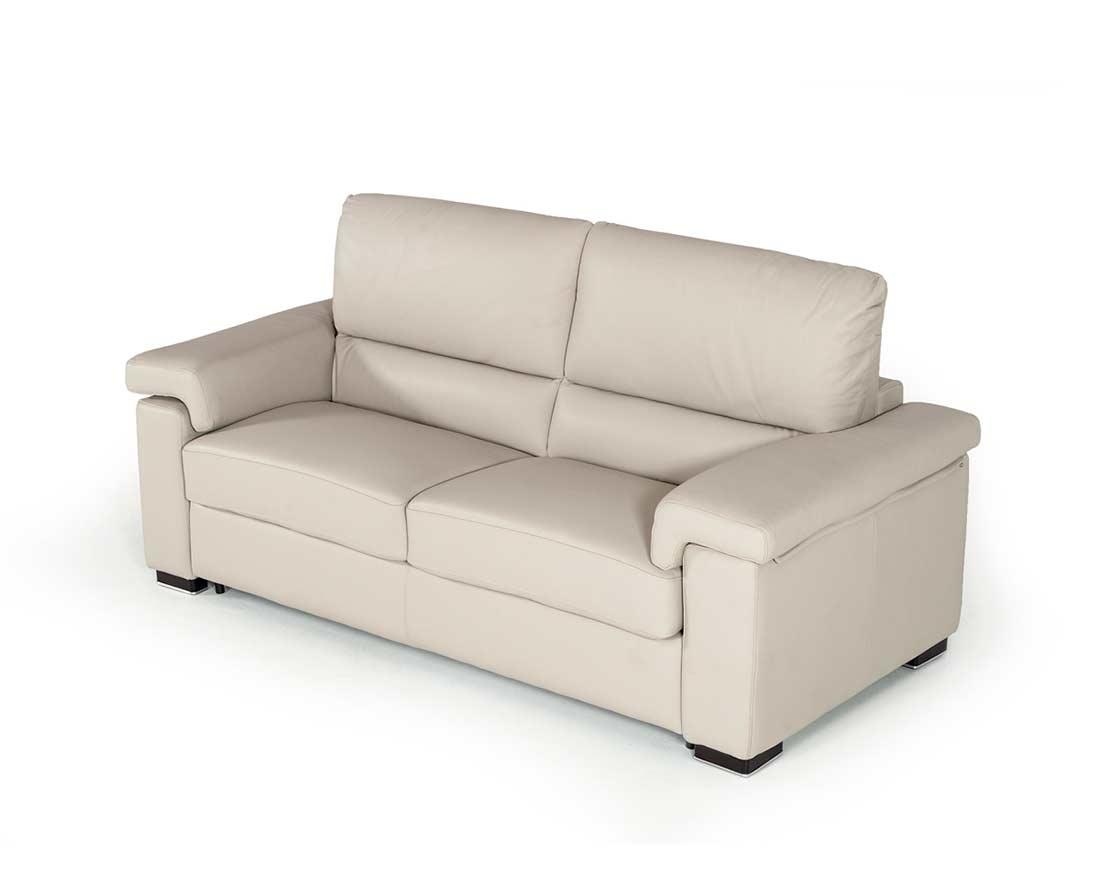 Italian Modern Light Grey Leather Sofa Bed Vg 018
