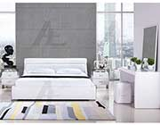 White Leatherette Platform Bed AE 51