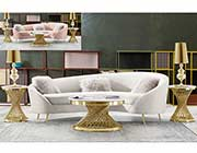 Light Creme Velvet Sofa DS Cedar
