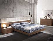 Walnut Bed with Light Grey Lacquer NJ Paola