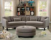 Warm Gray Fabric Sectional Sofa FA 370