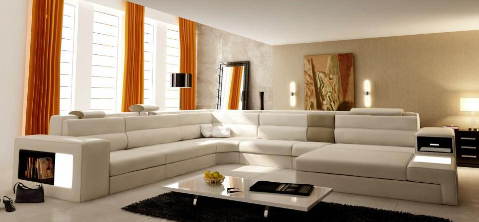 ... Polaris Orange Leather Sofa ... : luxury leather sectionals - Sectionals, Sofas & Couches