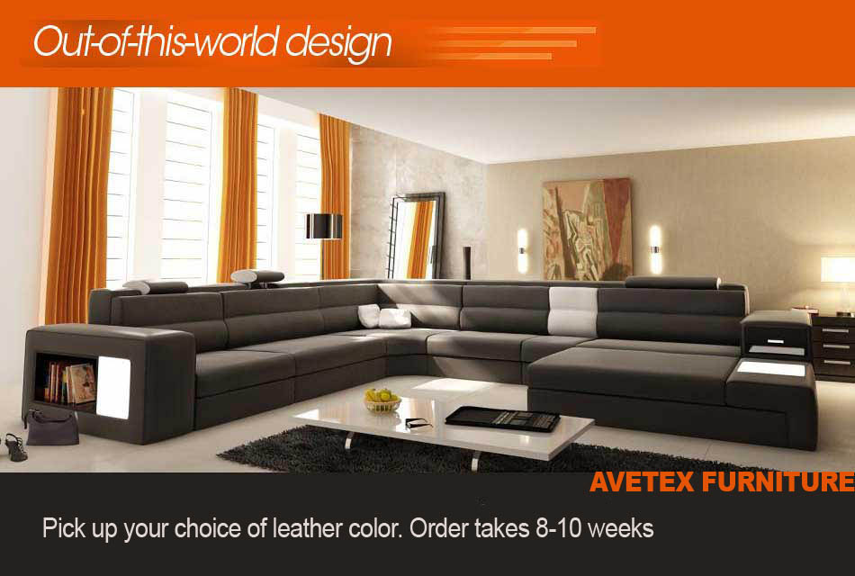 Polaris Orange Leather Sofa