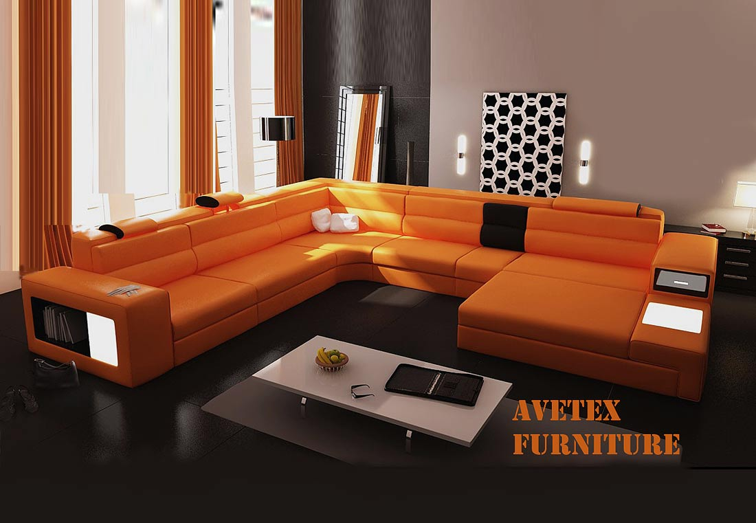Polaris Orange Leather Sofa