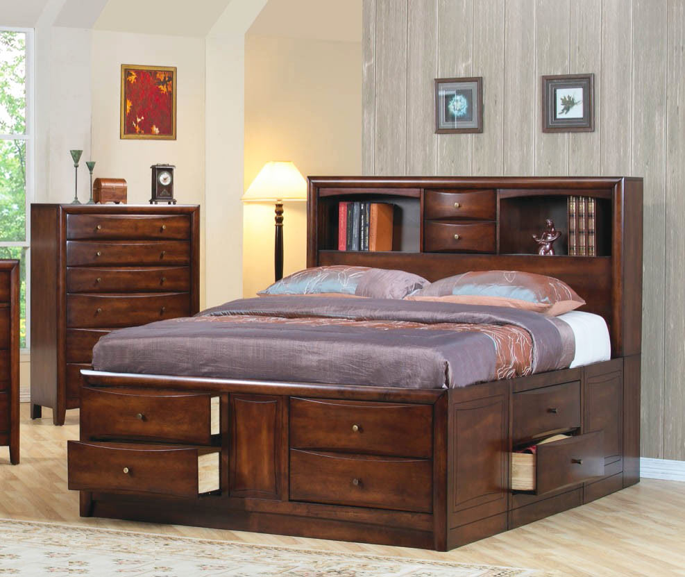 Bookcase chest bed co 409 platform beds for Bookshelf bed headboard