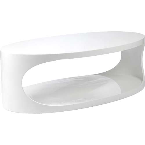 Kary White Oval Caoffee Table Contemporary