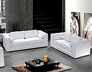 White Leather Sofa Set with Crystals HE-708