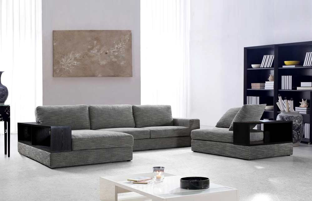 Grey Fabric Sectional With Wood Shelves Vg Antonio