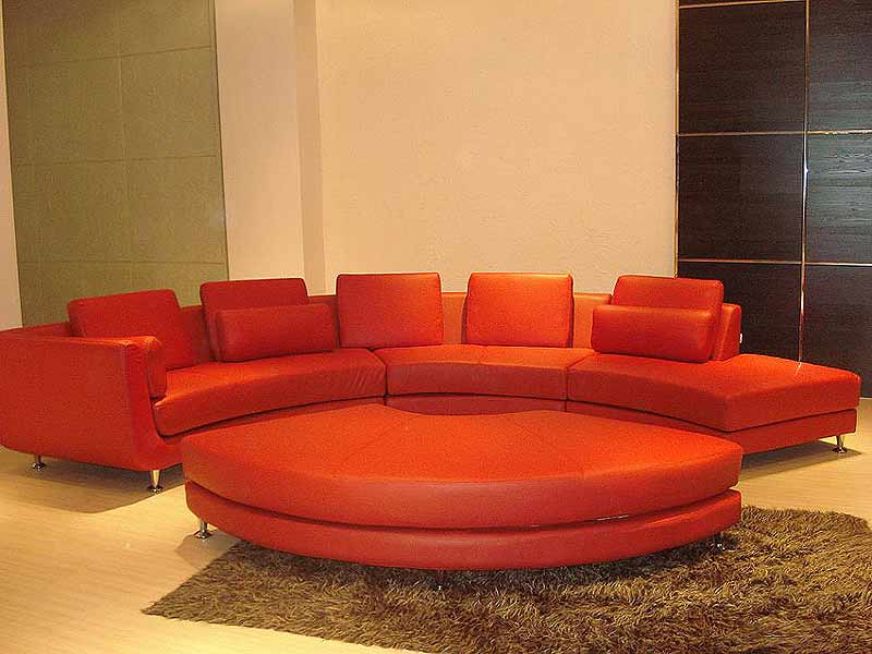 Red Circle Leather Sectional ...
