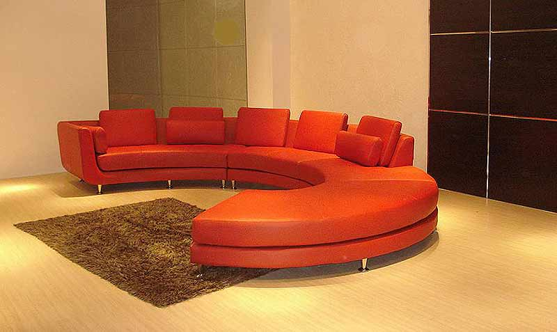 Red Circle Leather Sectional Leather Sectionals