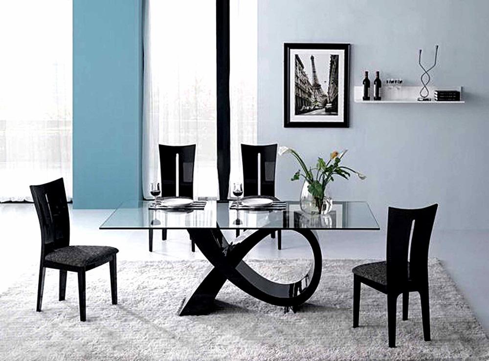Alfa Dining Table Black Color Cr Modern
