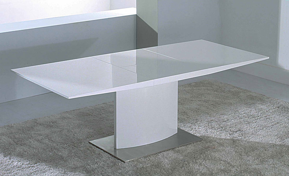 Modern extendable white lacquer dining table cr2014 modern dining - White extending dining tables ...