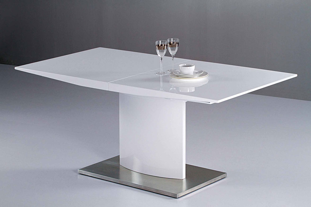 Dining table modern white lacquer dining table for Table ikea blanche